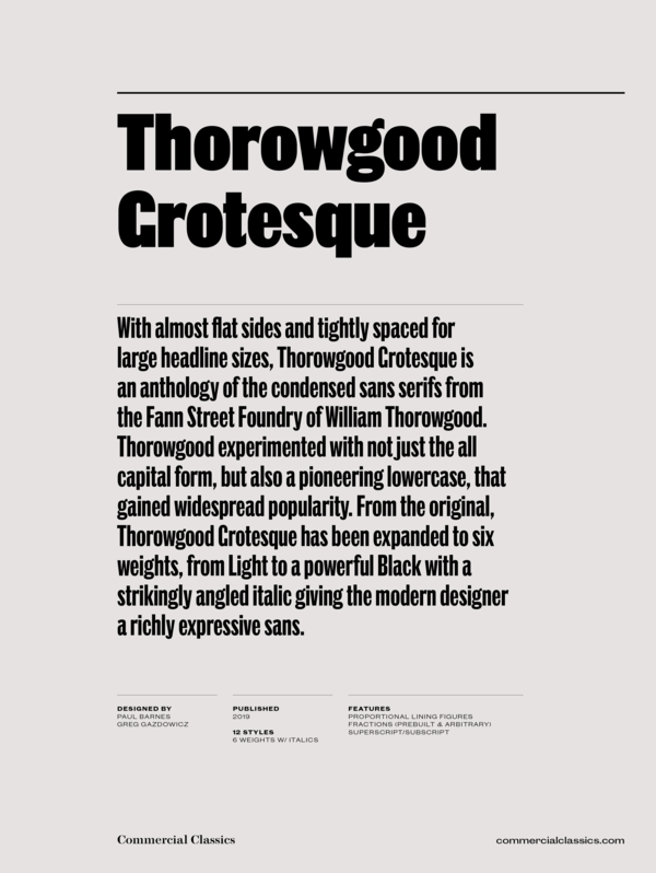 Thorowgood grotesque family 1 600 xxx q87